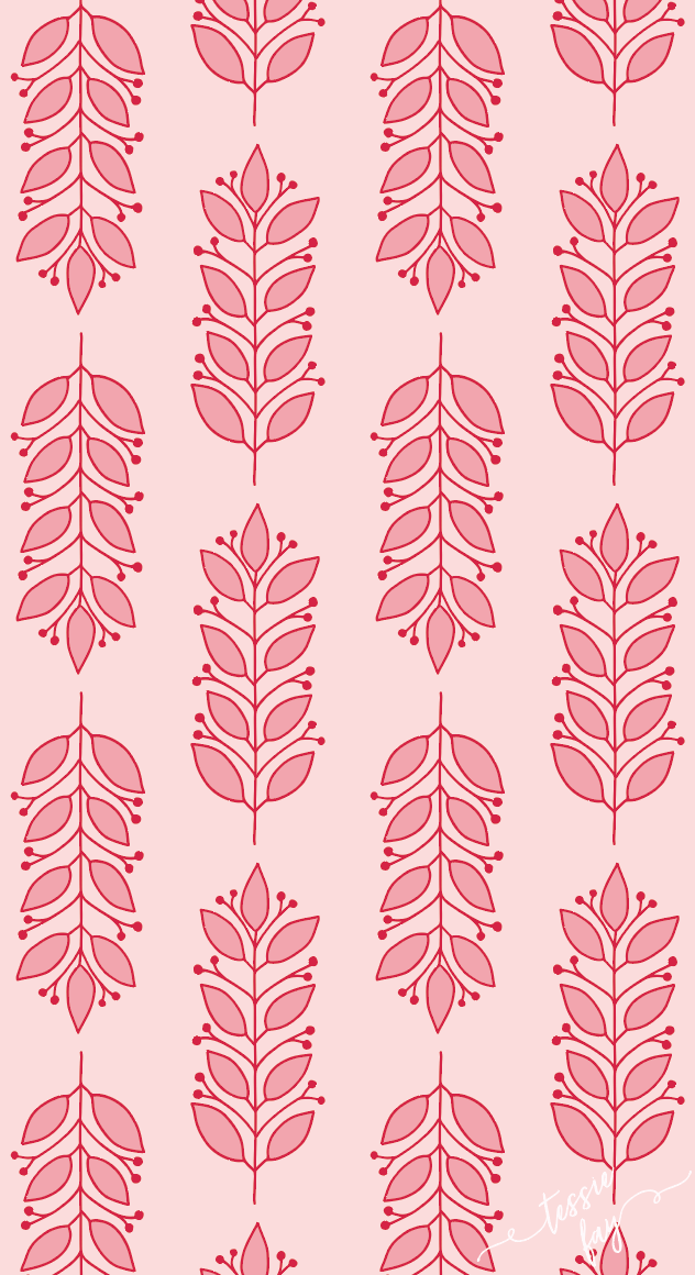 pink leaves wrapping paper