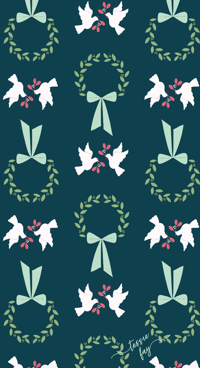 Wreath and Doves Wrapping Paper