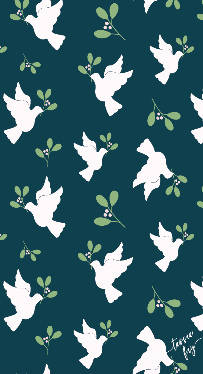 Doves in Green Wrapping Paper