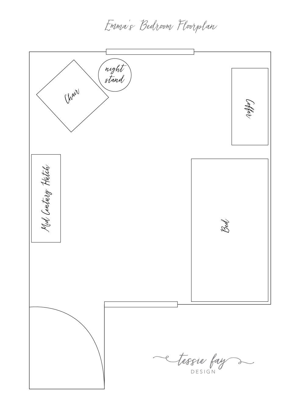 Girl's Bedroom Floorplan