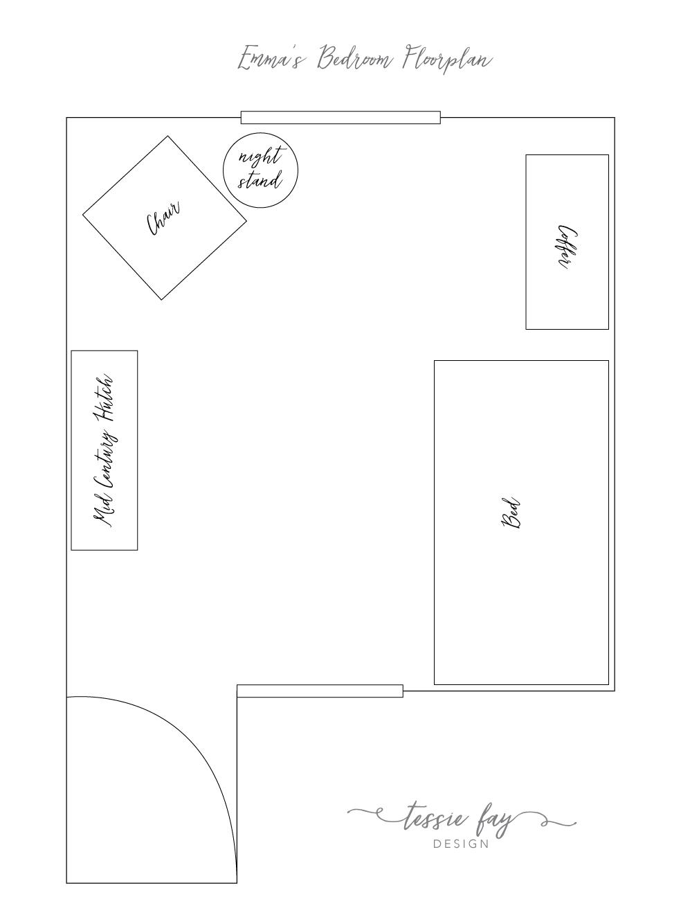 Girl's Bedroom Floorplan