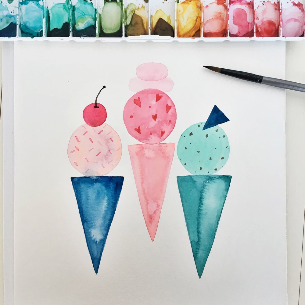 Ice Cream Watercolor by Tessie Fay