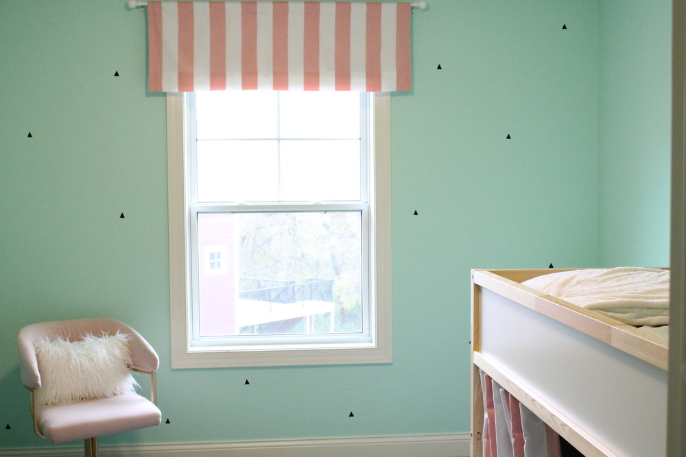 Ice Cream Bedroom Makeover with Mint Chocolate Chip Walls. Pink and Aqua Girls Room.