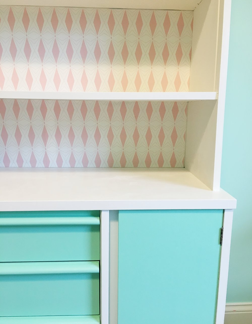Retro painted mid century hutch in pink, mint and white.