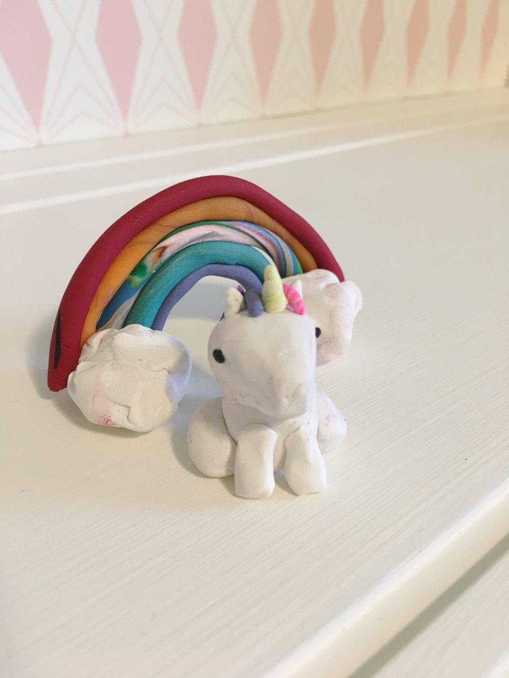 polymer clay unicorn and rainbow