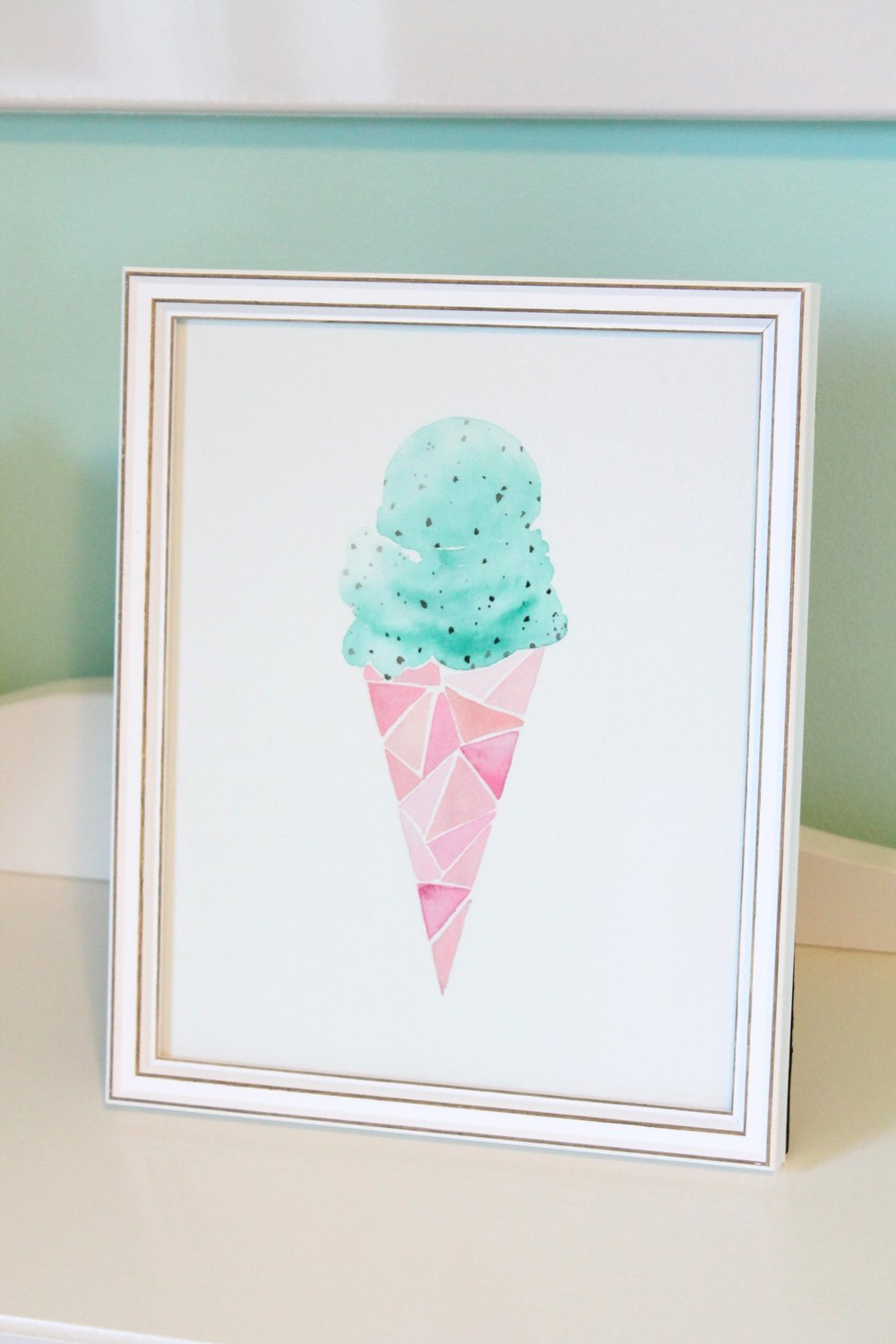 Mint cholocate chip water color painting by Tessie Fay