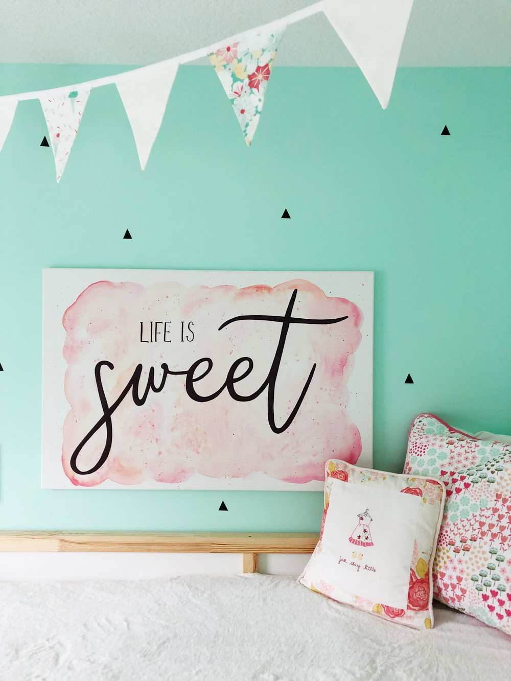 Ice Cream Social Bedroom. Life is Sweet. Girl's bedroom makeover. Pink and mint.