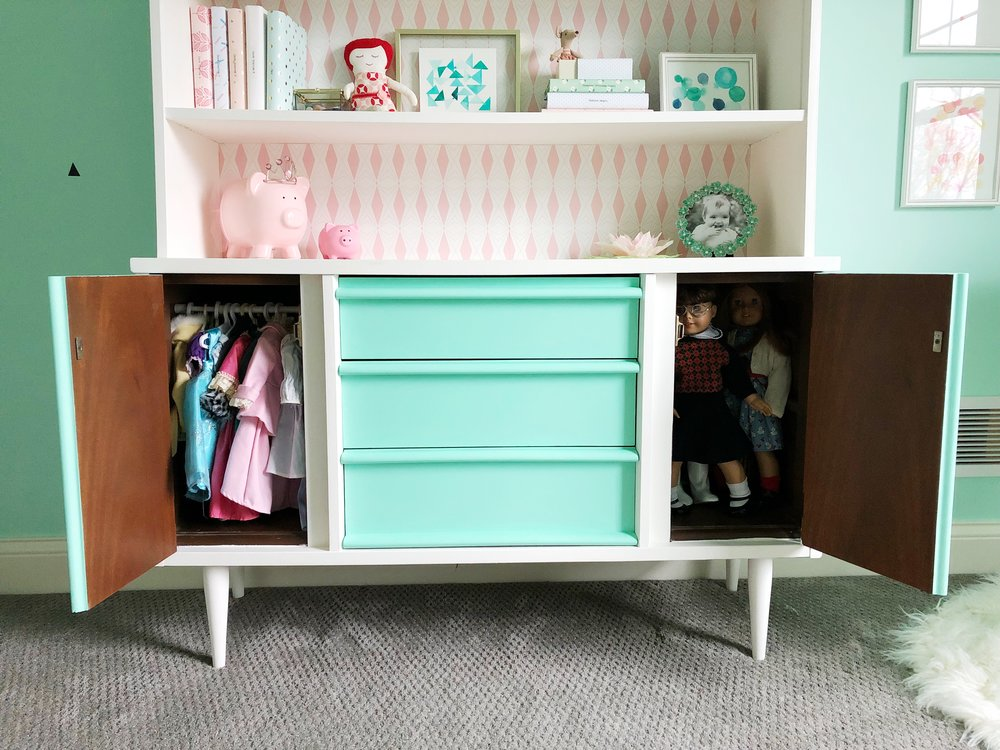 American Girl Doll Storage Solution in Mid Century Hutch.