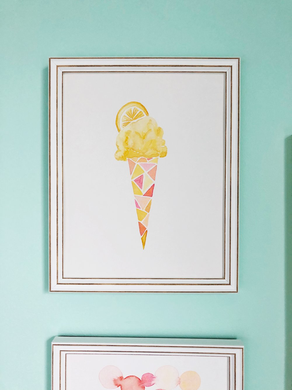 Lemon Ice Cream Water color painting by Tessie Fay.