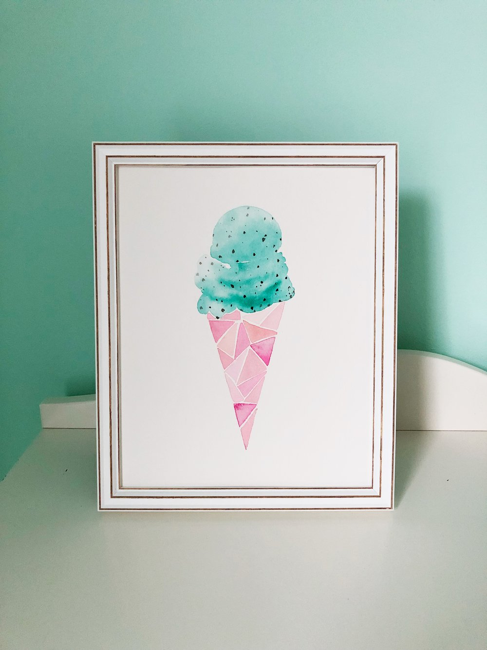 Ice Cream water color painting by Tessie Fay.