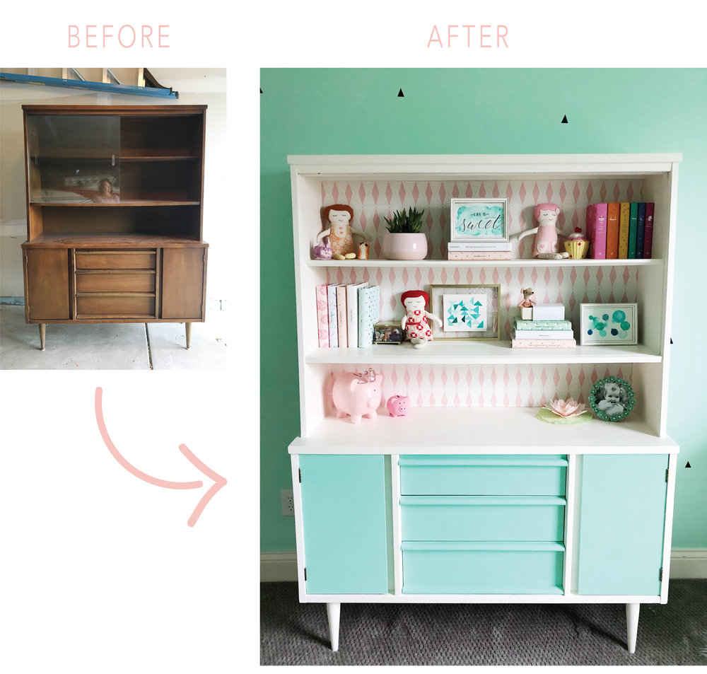 Mid Century Hutch Makeover. DIY painted hutch. Pink and Mint.