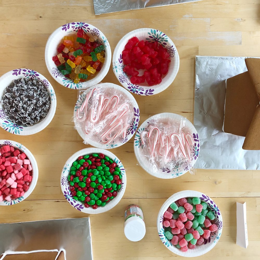 Making gingerbread houses from scratch. Candy ideas for gingerbread houses