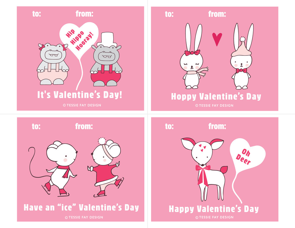 Free Printable Valentines. Hippo, bunny, mouse and deer.