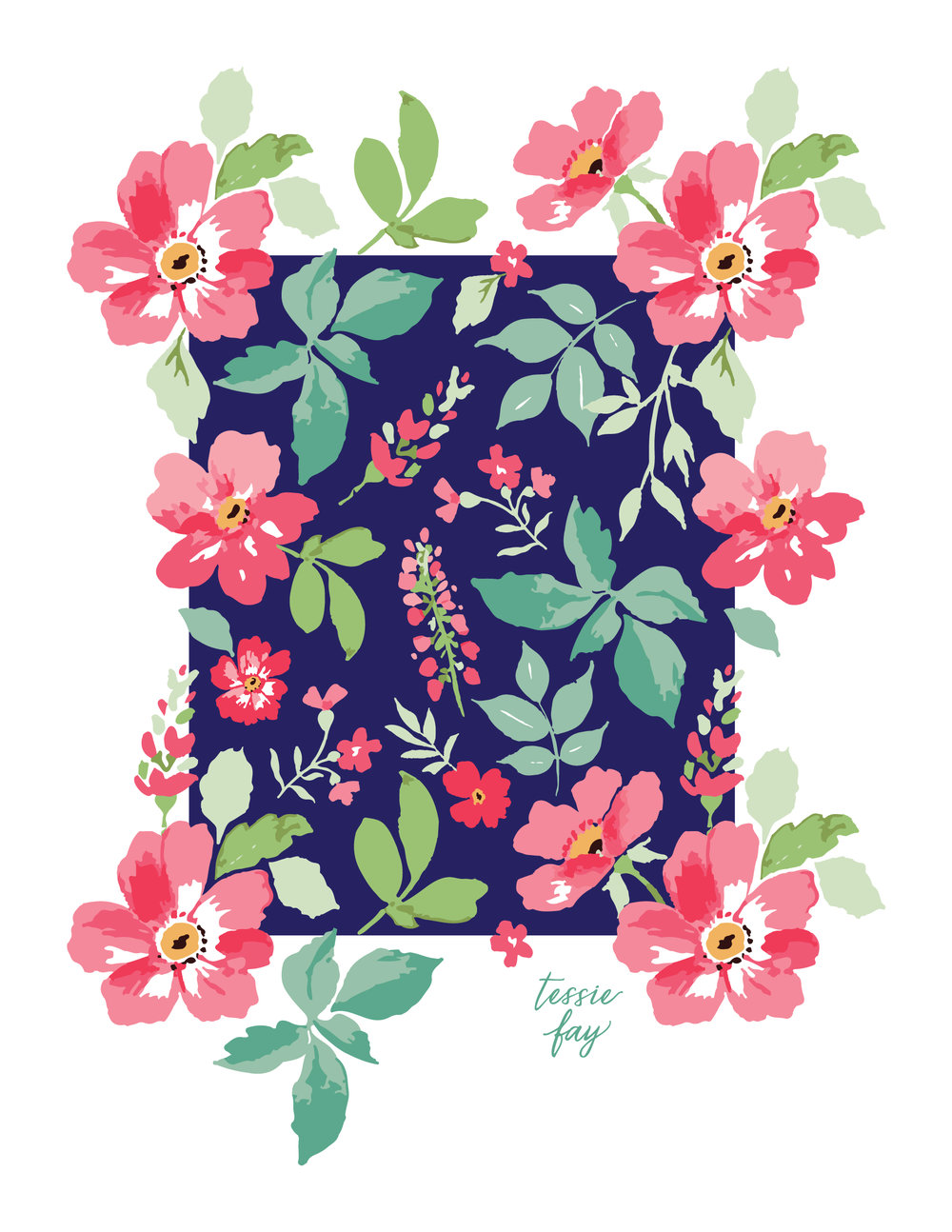Repeat tile for flower wallpaper by Tessie Fay