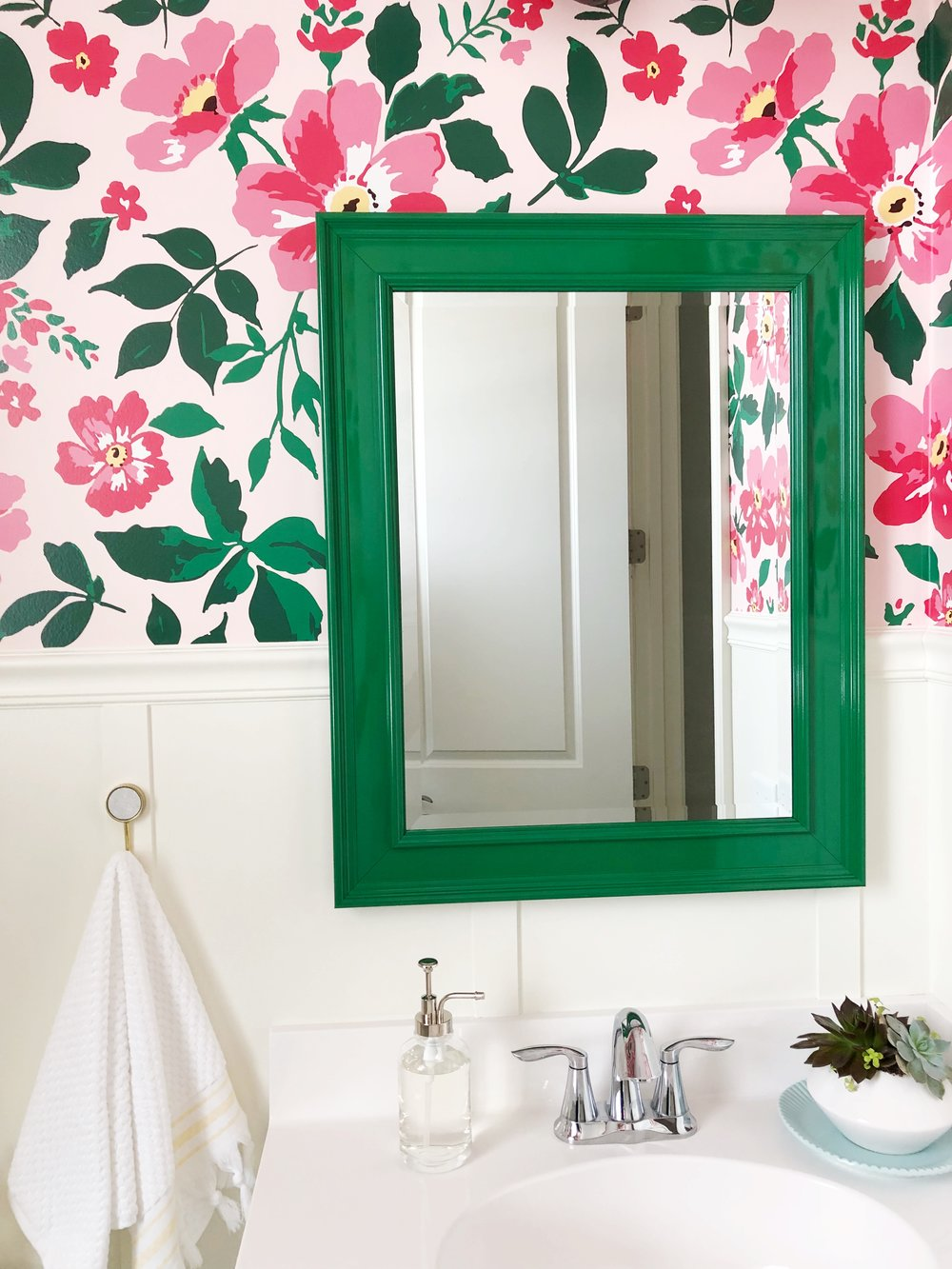 Wallpaper Bathroom with Spoonflower custom wallpaper. Board and Batten Powder Room. Green Mirror.