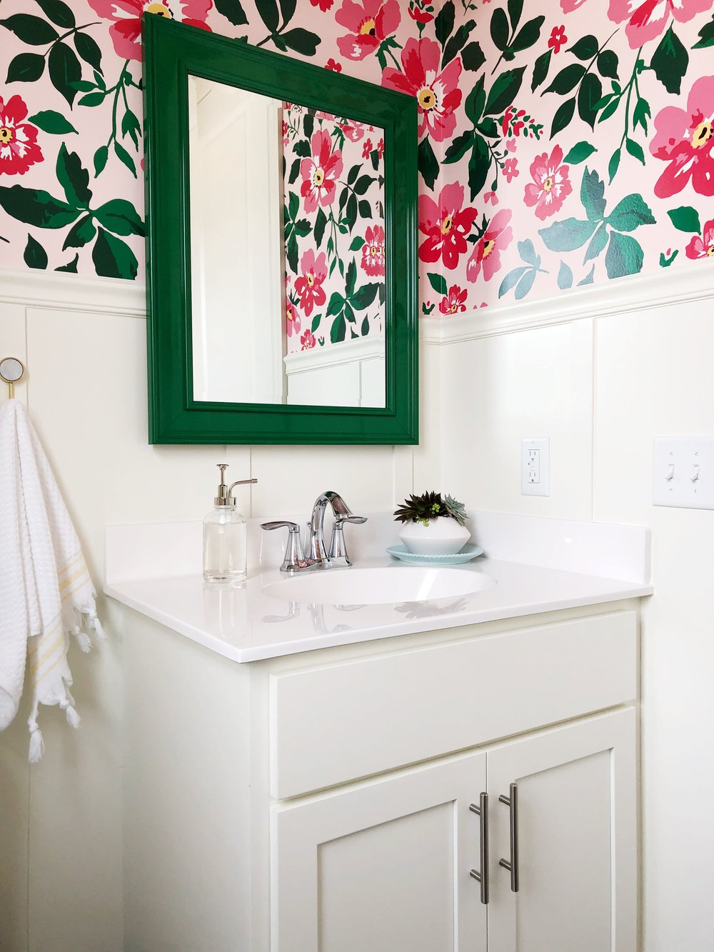 Wallpaper Bathroom with Spoonflower custom wallpaper. Board and Batten Powder Room.