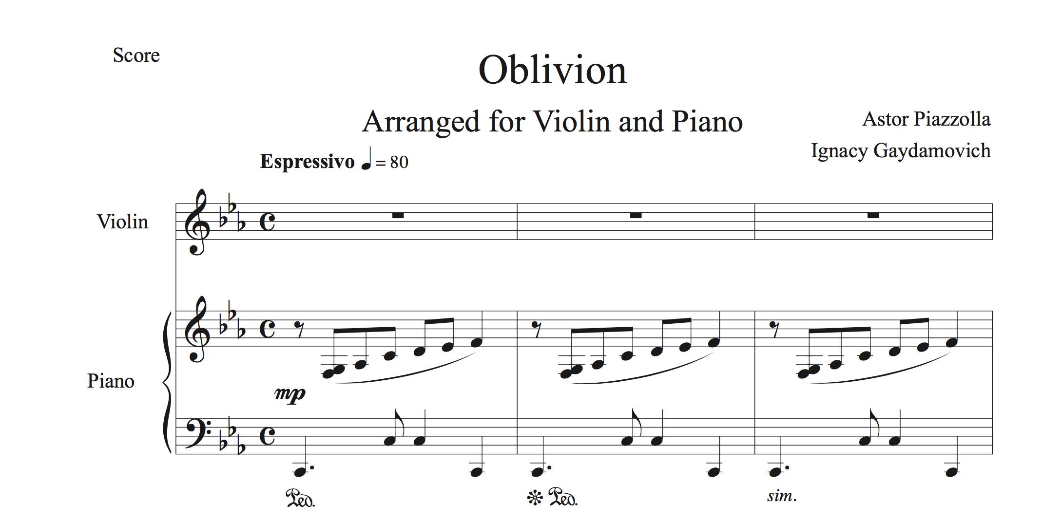 Astor Piazzolla - Oblivion for Violin and Piano - PDF — Ignacy Gaydamovich