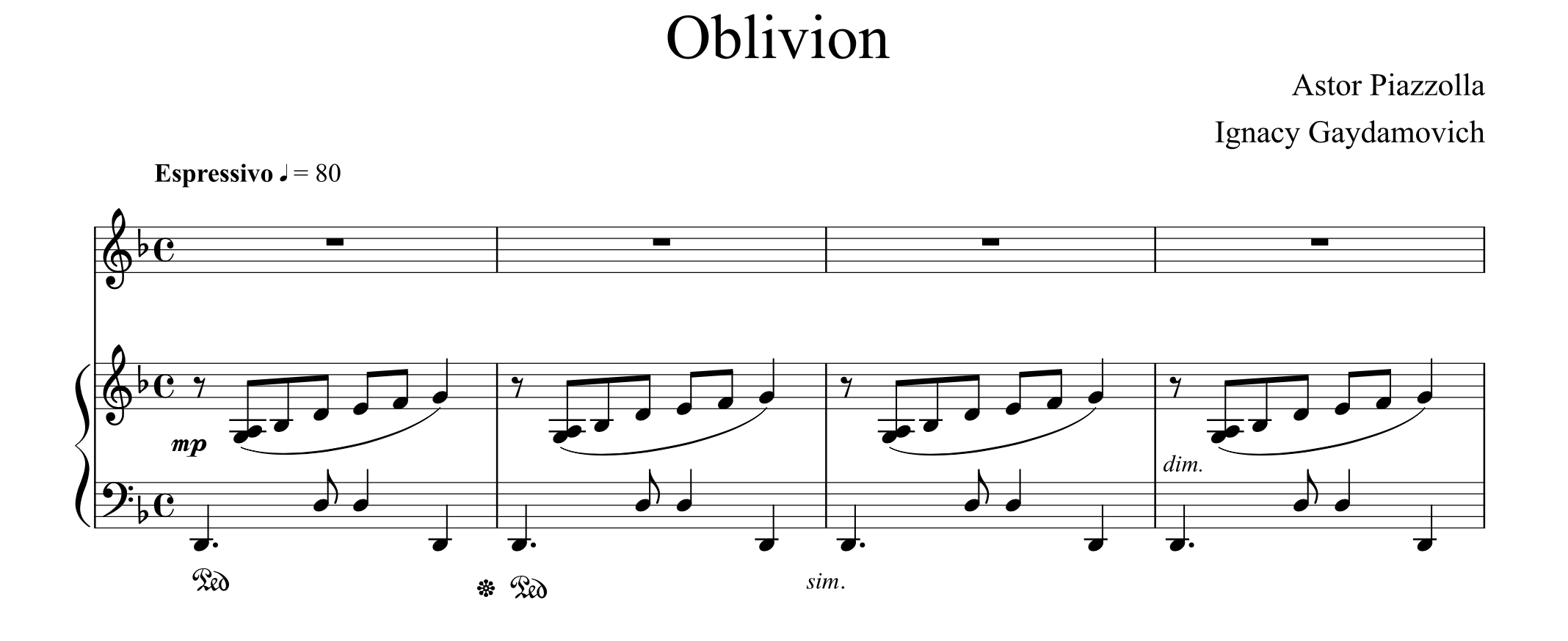 Astor Piazzolla - Oblivion for Double Bass and Piano - PDF — Ignacy  Gaydamovich