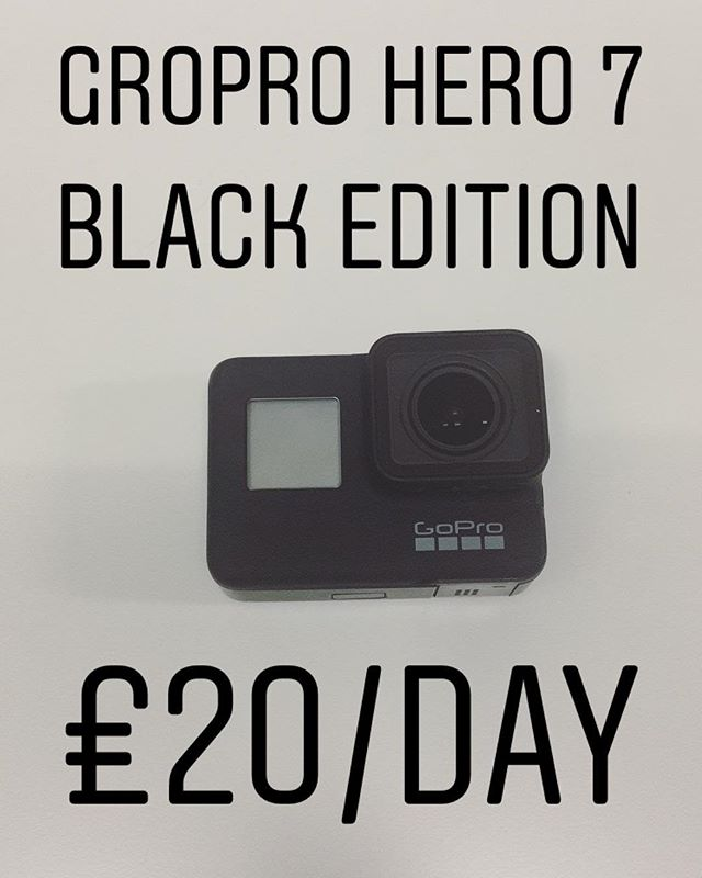 GoPro Hero 7 Black Edition available for hire, £20/day. To book call 0121 572 3893 or visit www.photovideokithire.com #gopro #4k  #actioncam #stabiliser #cinematography #hire #rentme