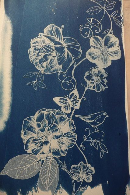 Cyanotype florals print scarf.jpg