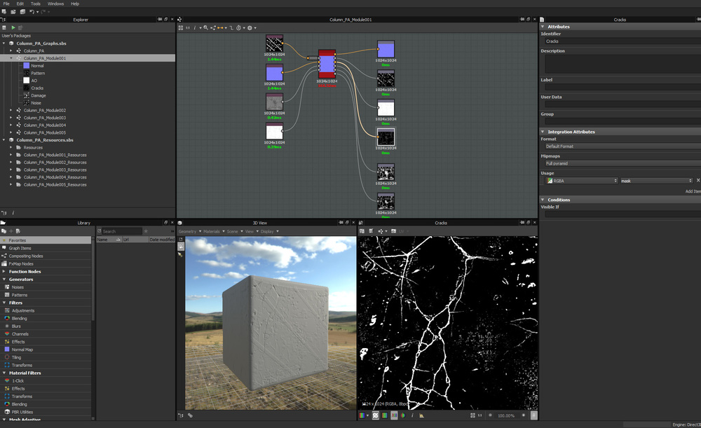 Substance's modular nature allows you to combine graphs to generate complex shaders. And it's all input depended, so with different mesh you will get different results.