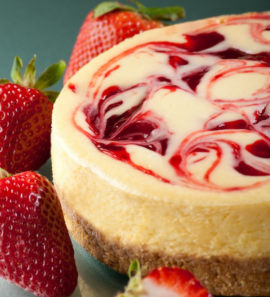 REDUCED FAT Strawberry Swirl Cheesecake