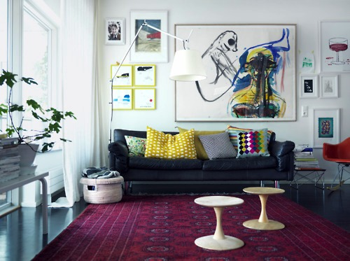 yellow and persian rug