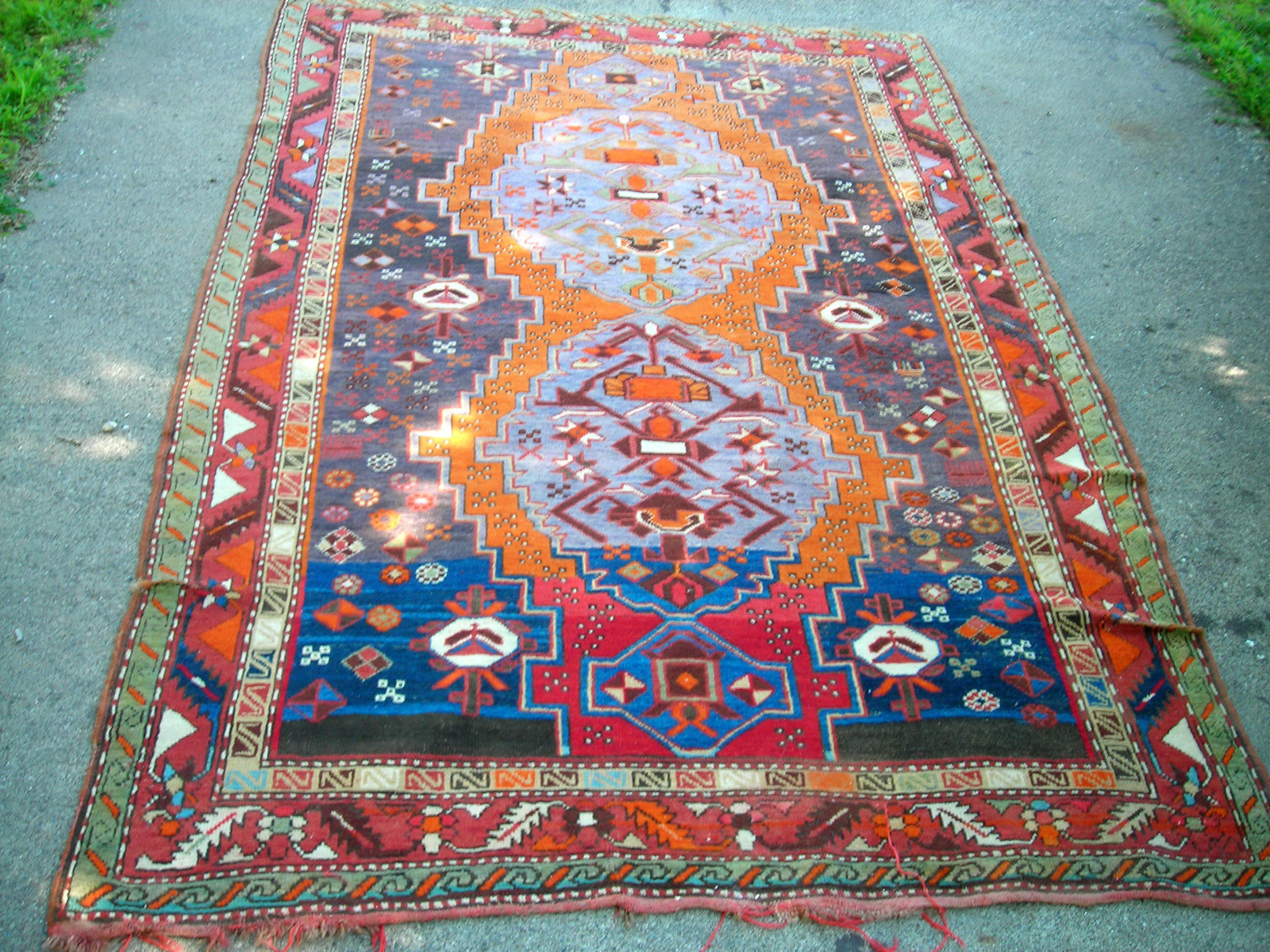 red rustic medallion l handmade gabbeh persian merchant knotted old on a spidery orange and rug hand with product pattern the tribal oriental