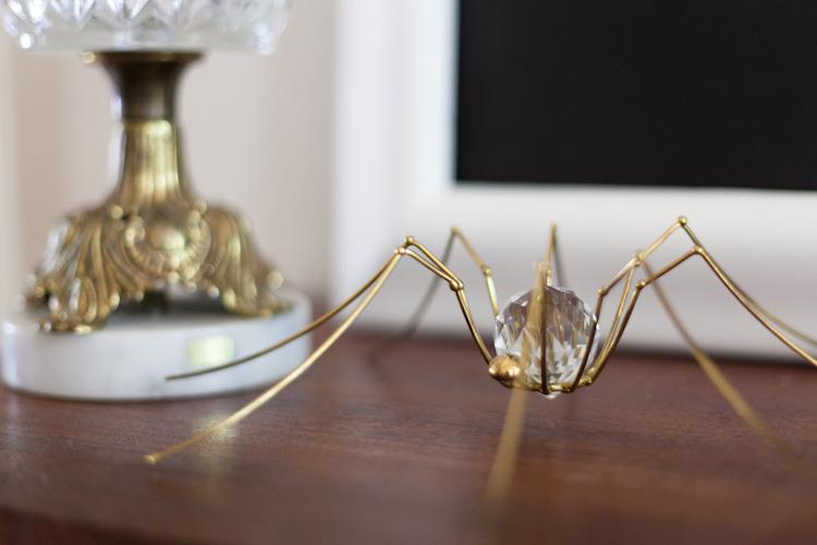brass crystal spider