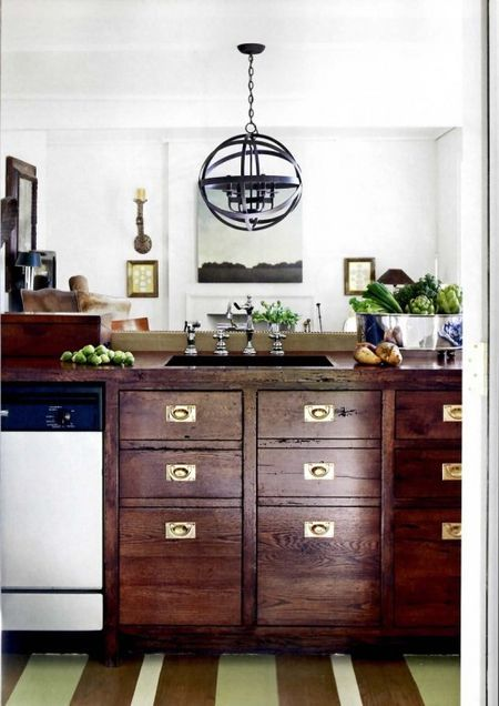 wood brass kitchen