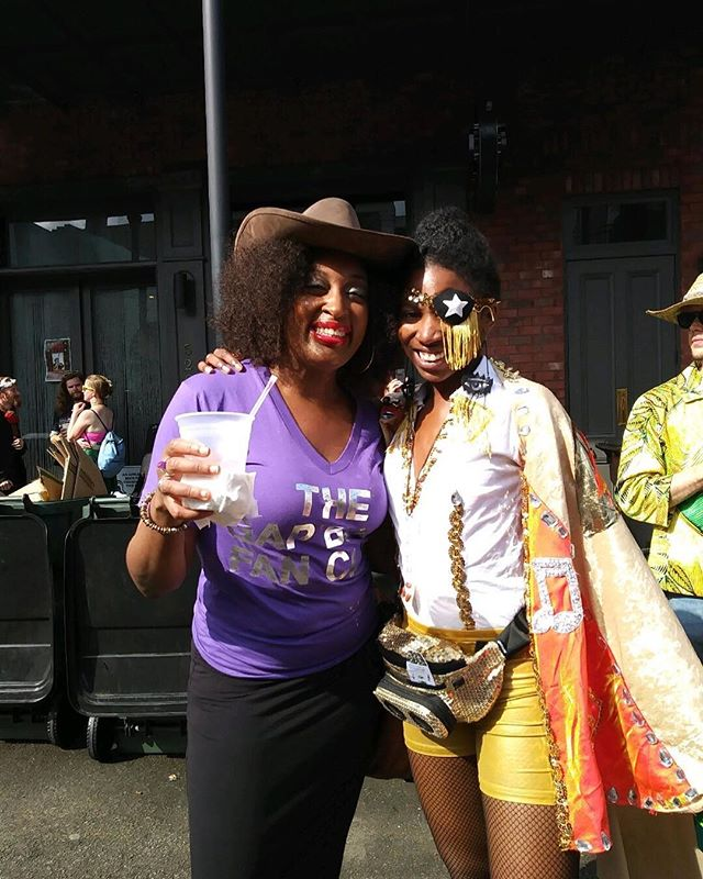 Flashback to Fat Tuesday 2017 when @djsoulsister and I were celebrating musical greats in our own way! • Today Krewe of King James, our James Brown themed marching krewe, is making throws on James Booker's birthday, just hours before the Prince Purple Takeover at @treonola . How's that for a funky anniversary?! • Wanna join our 2018 march? Hit the link in the bio for details!!
