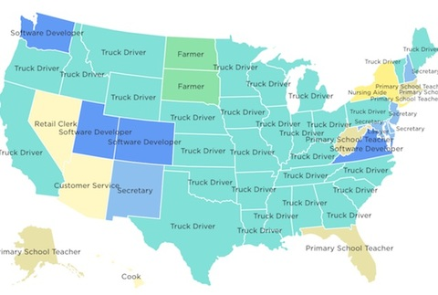 The Most Common Job in Each State