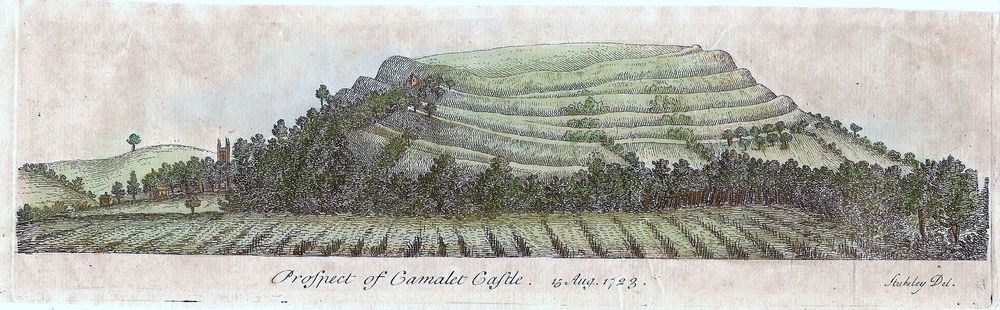 "Engraving of Cadbury Castle, drawn in 1723 by William Stukeley and captioned ""Prospect of Camalet Castle"""