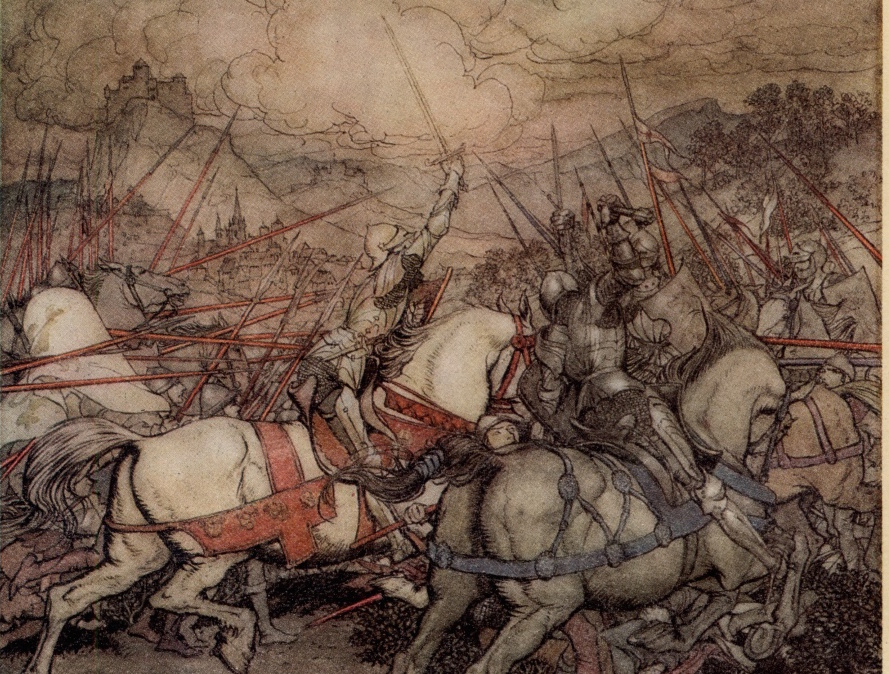 'How Arthur drew his sword Excalibur for the first time' by Arthur Rackham from  The Romance of King Arthur and His Knights of the Round Table, Abridged from Malory's Morte D'Arthur    1917