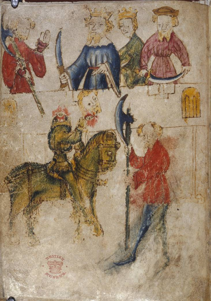 Sir Gawain and the Green Knight from a 14th Century medieval manuscript.