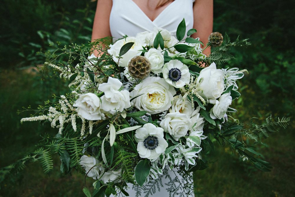 Fern bridal bouquet with white blooms