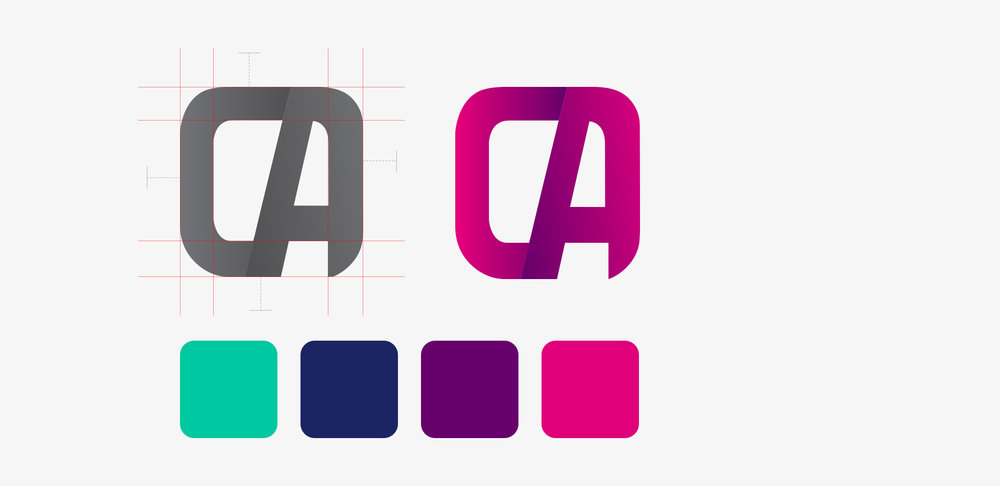 Logo execution - The nature of the business inspired the final outcome of the logo. The rounded app icon shape combined with the initials 'CA' worked as a great identity for the brand. The use of gradients were a great addition to shaping the identity and creating differentiation between the letters.