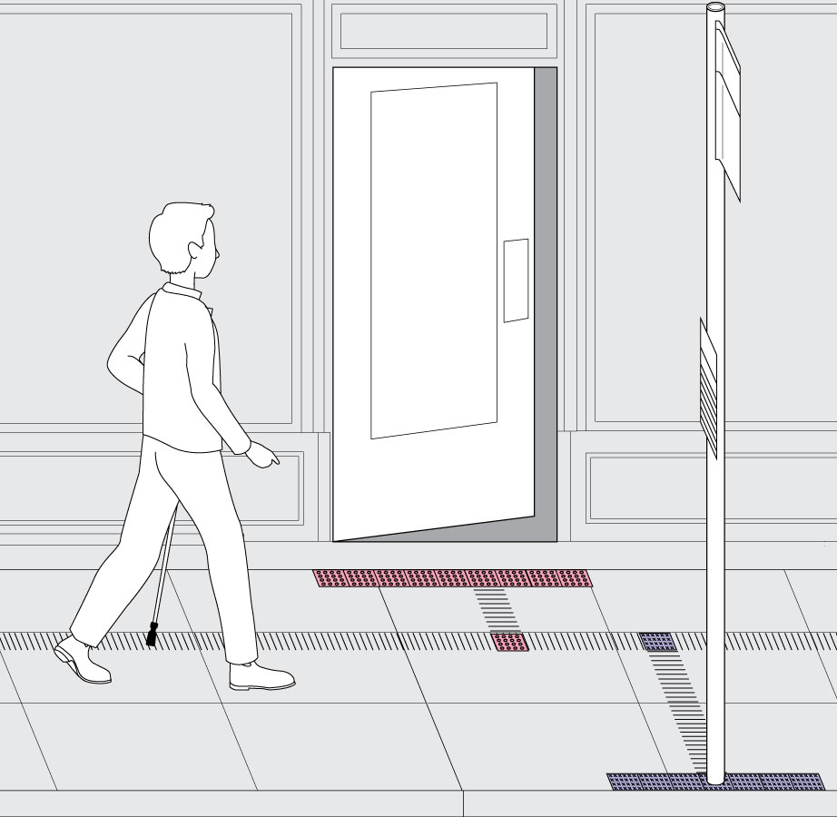 A pedestrian is walking down the street with a mobility cane, approaching tactile notation of an upcoming building entrance and bus stop.