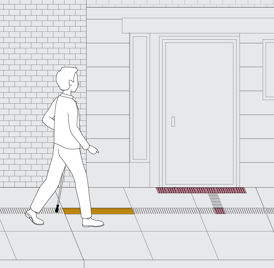 A pedestrian is approaching tactile notation which indicates that she is entering a new segment of the city block.