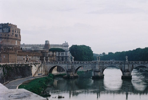 Castel Sant'Angelo and the St. Angelo Bridge across the River Tiber