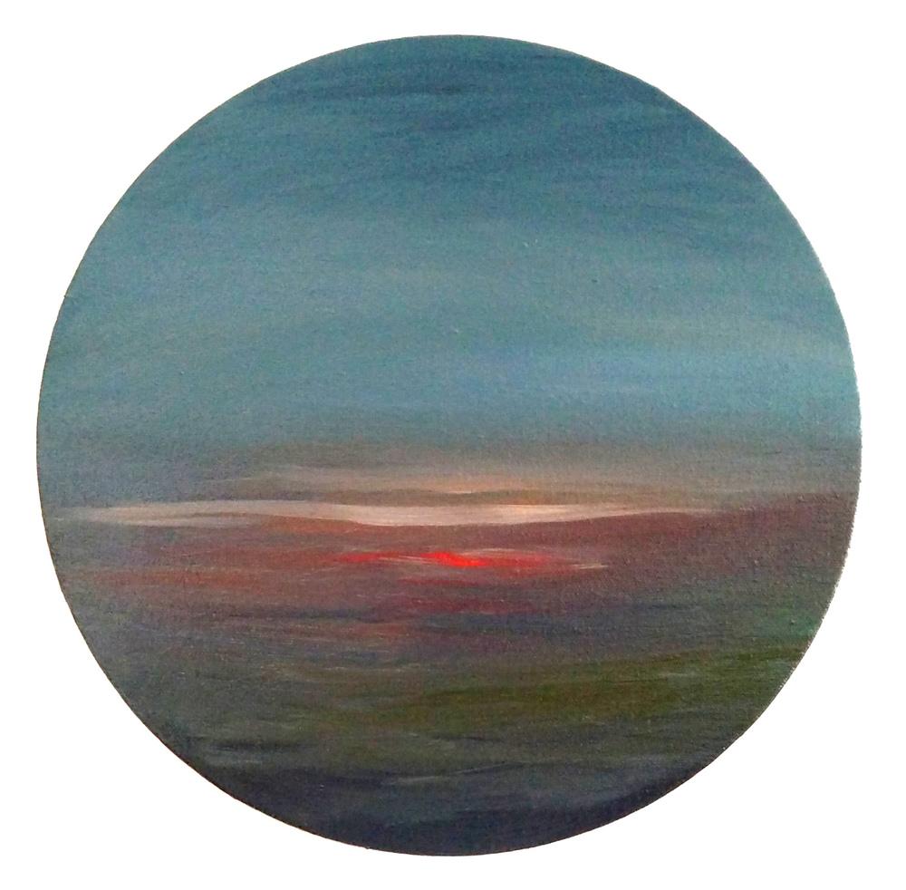 "12"" diameter  oil on canvas"