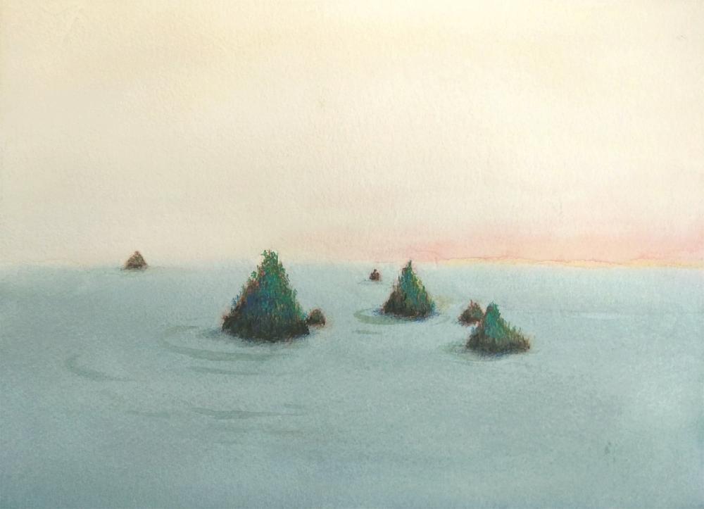dawn, flat sea