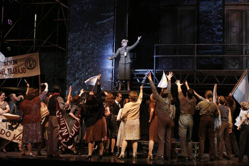As Eva Perón, Caroline Bowman works the crowd in Evita.TIM MATHESON PHOTO.