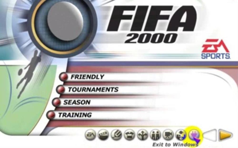 Captură a ecranului de start din FIFA 2000