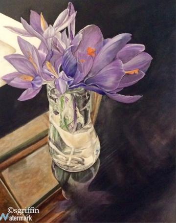 Crocus in Glass Vase