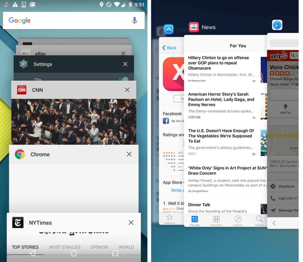 Android Marshmallow on the left, and iOS 9 on the right.