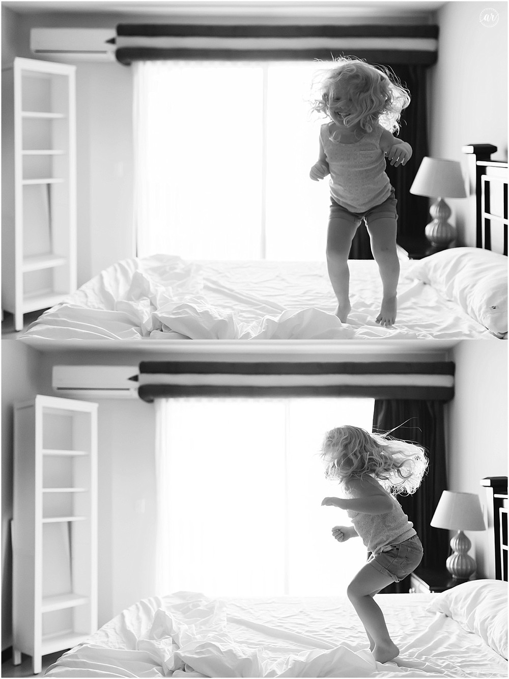 That's me jumping on the bed! Like this!!!! Heheheh. Like this, that's me jumping on the bed, like this. Jump a jump a jump a jump... (She is now jumping on my bed!)
