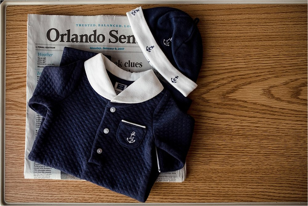 Orlando newborn hospital photography fresh 48 newspaper and baby boy outfit