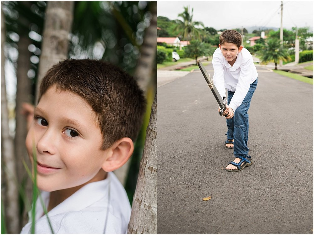 little boy playing with sword in Costa Rica