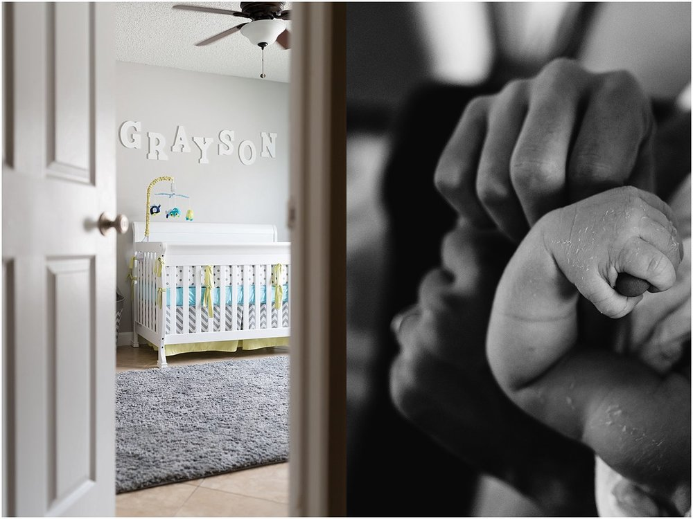 cute little boy's nursery and baby boy holding dad's hand